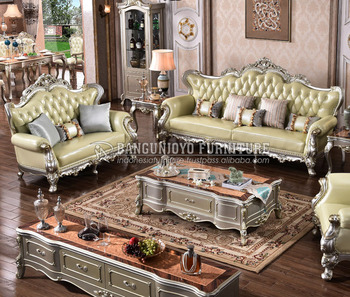 Silver Color Wood Frame Antique Fabric Sofa Set Living Room