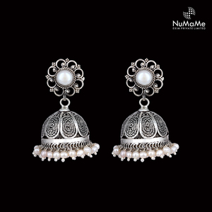 Ethnic Fashion Floral Stud Pearl Jhumki Earrings Handmade in 925 Sterling Silver