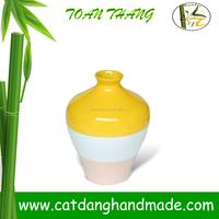 Bamboo new decor cheap vase made in vietnam, Bamboo round vase