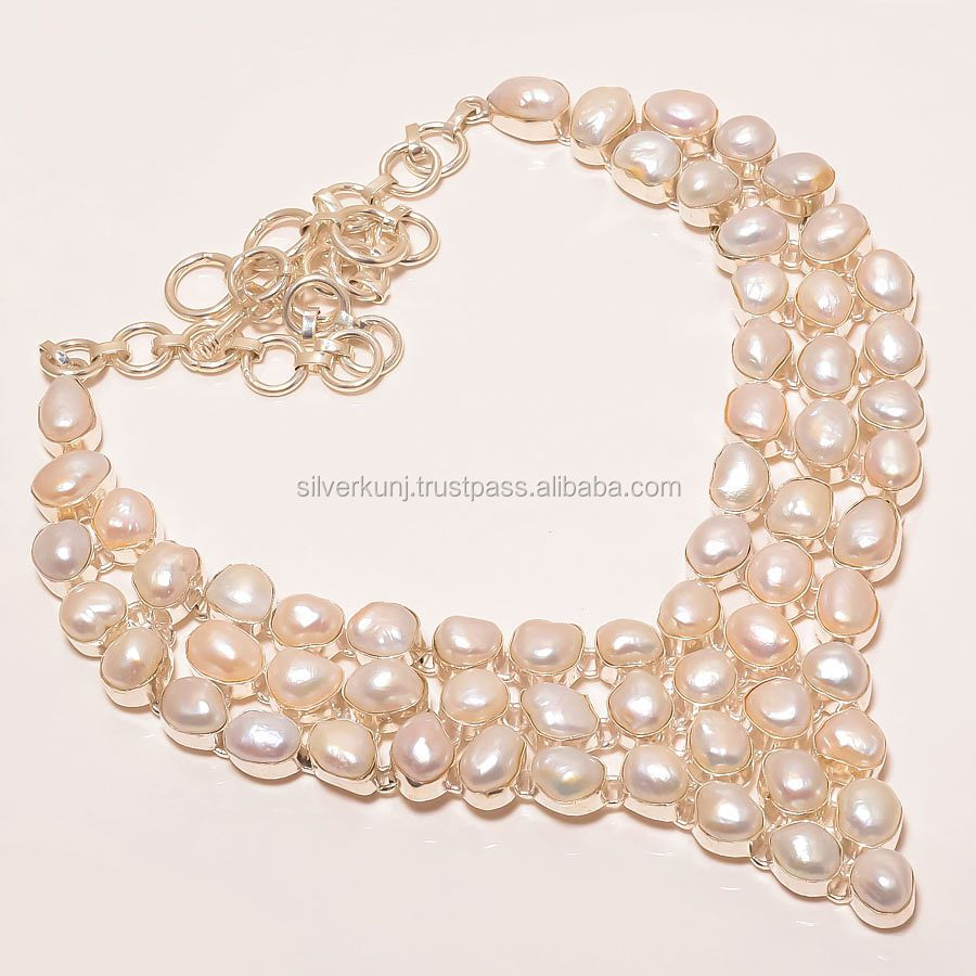 Wholesale silver jewelry, River Pearl Gemstone Statement Necklace