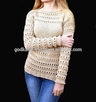 Fancy And Cream Color Design Handmade Sweater Hand Knit Sweater