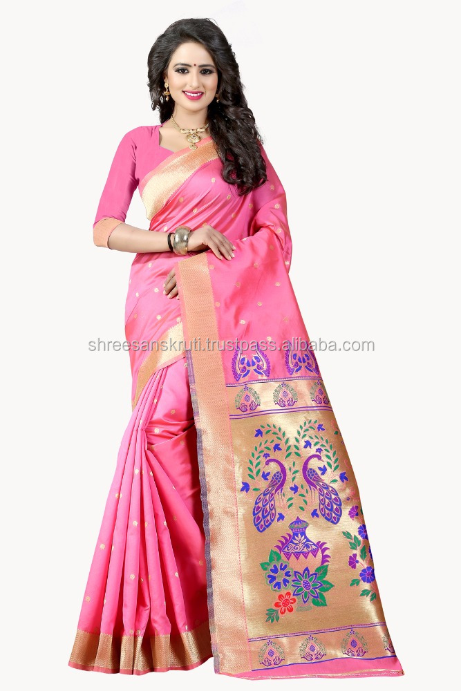 Shree Sanskruti Light Pink Colour Poly Silk Jacquard Saree with Unstitched Blouse Piece for Every Occasion