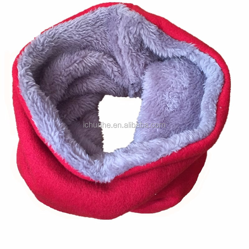 2017 new double layer majored producer for kids polar fleece and fake fur neck warmer factory