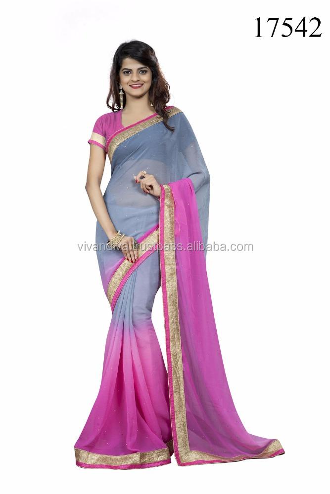 Finden Sie Hohe Qualität Doppelte Farbe Saree Mit Bluse Hersteller ...