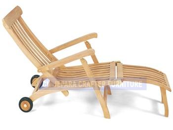 Teak Outdoor Furniture Garden Beach Reclining Steamer Chairs With