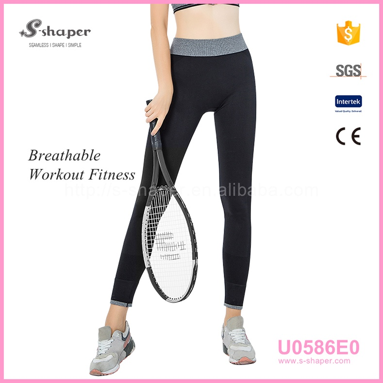 Stock Beste Qualität Schwarz Nahtlose Korea Yoga Leggings, Yoga Workout Capris Leggings Und Workout Capris