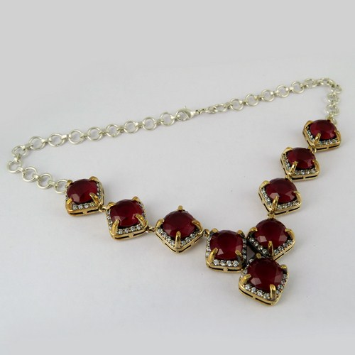 Fashion Red Onyx_White CZ 925 Sterling Silver Necklace, Fine Silver Jewelry, Discounted Silver Jewellery