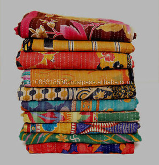 Vintage Kantha Handmade Bedspread Indian Quilt Cotton Blanket Gudari Ralli Throw