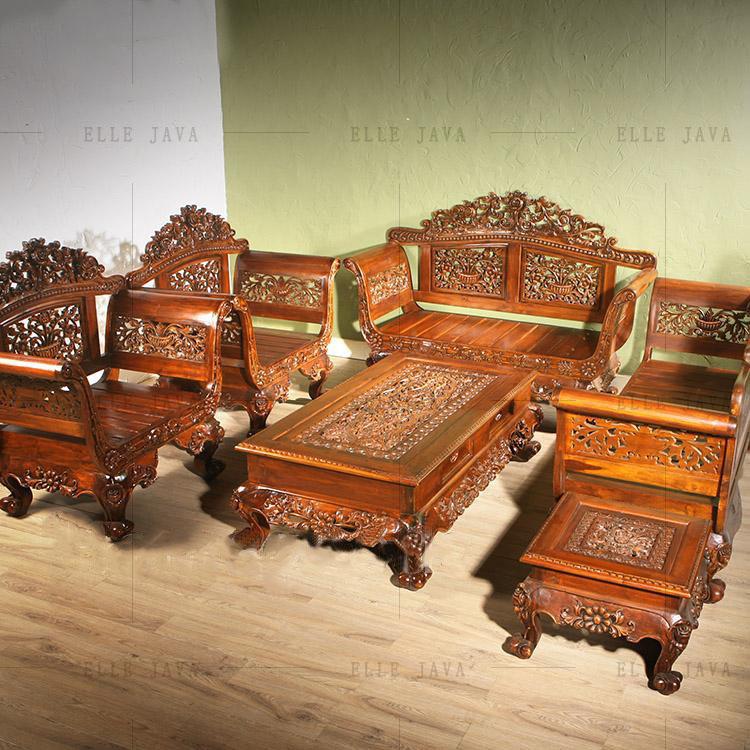Hand Carving Teak Wood Living Room Furniture Set Of 5 Royal Sets Luxury Antique Product On