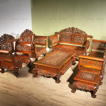 Hand Carving Teak Wood Living Room Furniture Set Of 5 Buy Royal Living Room Furniture Sets