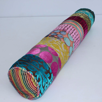 Decorative Bolster Pillow Indian Made In Burnout Velvet With Filling Product On