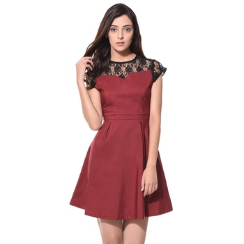 405b0ace3ad2 Wine Solid Lace Detailed Skater Dress - Buy Elegant Skater Dress ...