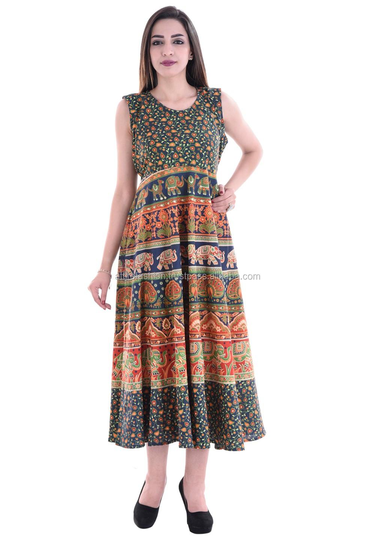 fb11c7e0cc Cotton Rajasthani Animal Print Short Dress - Buy Ladies Cotton Print ...