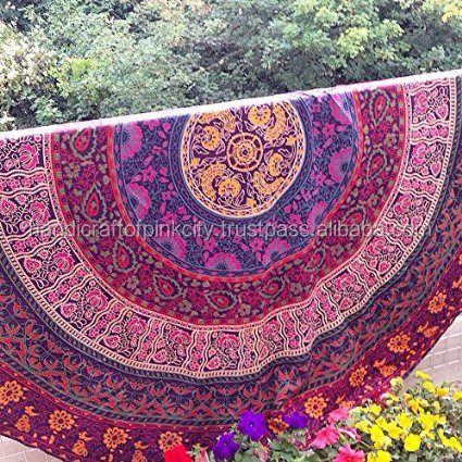 Indian Block Print Mandala Round Relax Beach Tapestry