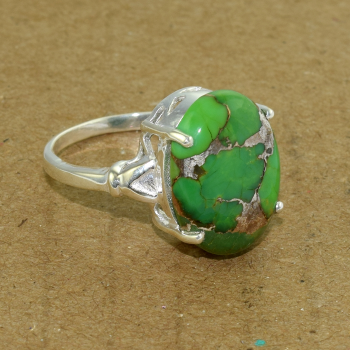 green copper turquoise jewelry 925 sterling silver ring