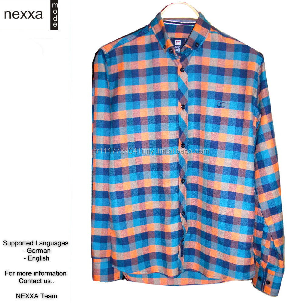 Mens Shirts Flannel Cotton Uni Square Stripes Classic Casual High Quality Hemden Wholesale FL3