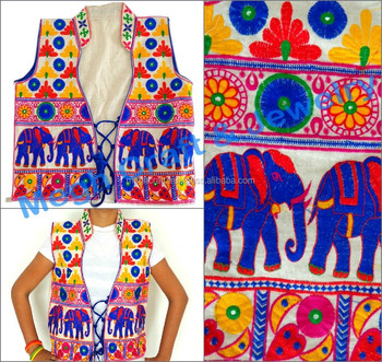 Gujarati Kutch embroidery jacket-Indian traditional elephant style Navratri  koti-vest-waist coat