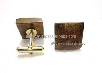 Yellow Tiger Eye Square Shape Cufflinks : Wholesale Cufflinks : Gemstone Agate Factory India