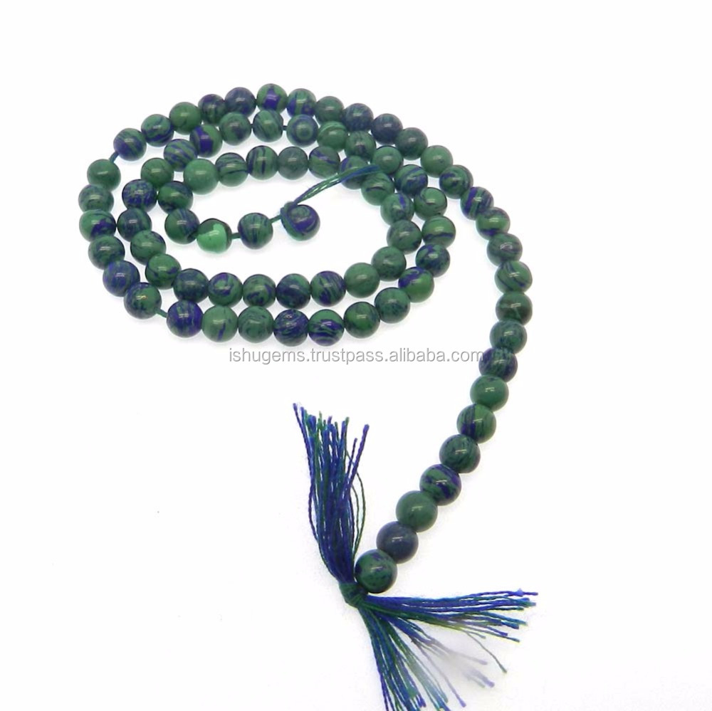 Synthetic azurite round smooth loose 6mm 16 inch length gemstone beads for jewelry