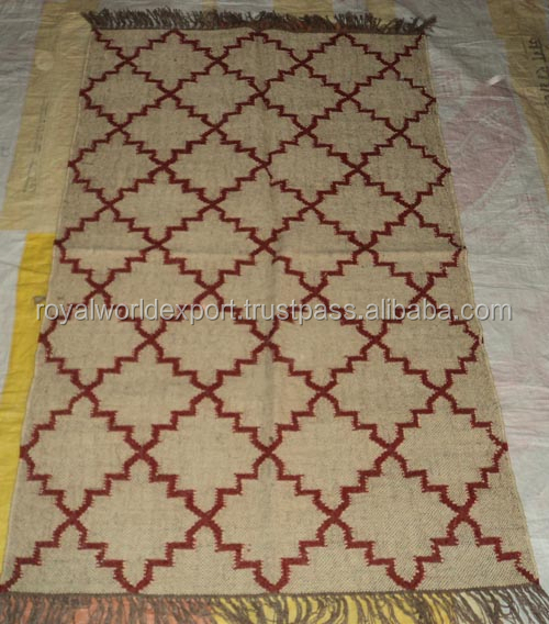 Adult Design Wool Jute Kilim Rugs/Latest Design Wool Muslim Prayer Rug for Sale/Indian Handmade Wool Flat Weave Rugs