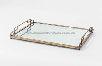 Br Tray Rectangular Mirror Antique Serving Decorative Product On