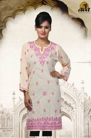 LUCKNOWI CHIKAN HAND EMBROIDERED COTTON LONG KURTI A90548 BY ADA
