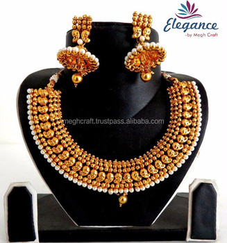 South Indian One Gram Gold Plated Pearl Jewellery Traditional