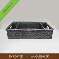 Large Rectangular Black rattan serving trays with Compartment Artex Nam An