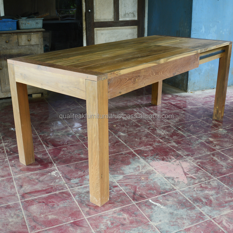 Reclaimed teak solid wood dining extension table