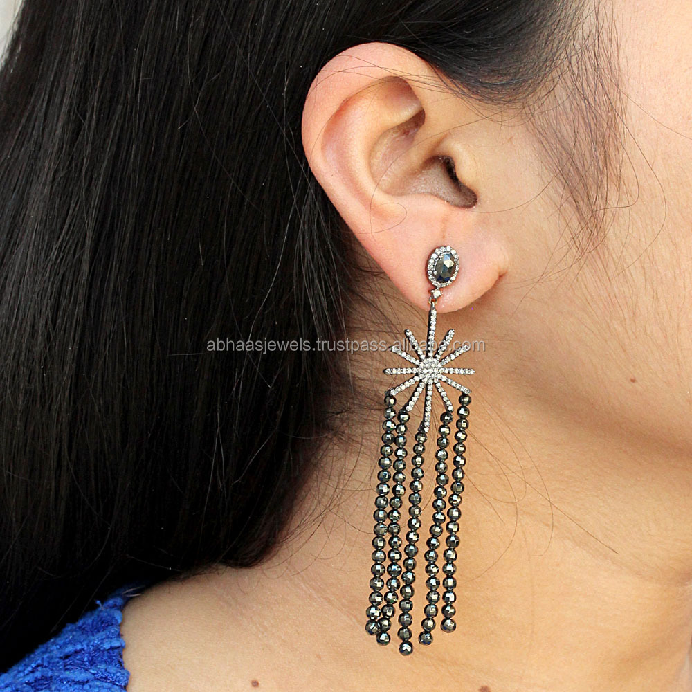 925 Sterling Silver Pave Diamond Starburst Design Black Spinel Gemstone Chandelier Earrings Handmade Beaded Jewelry