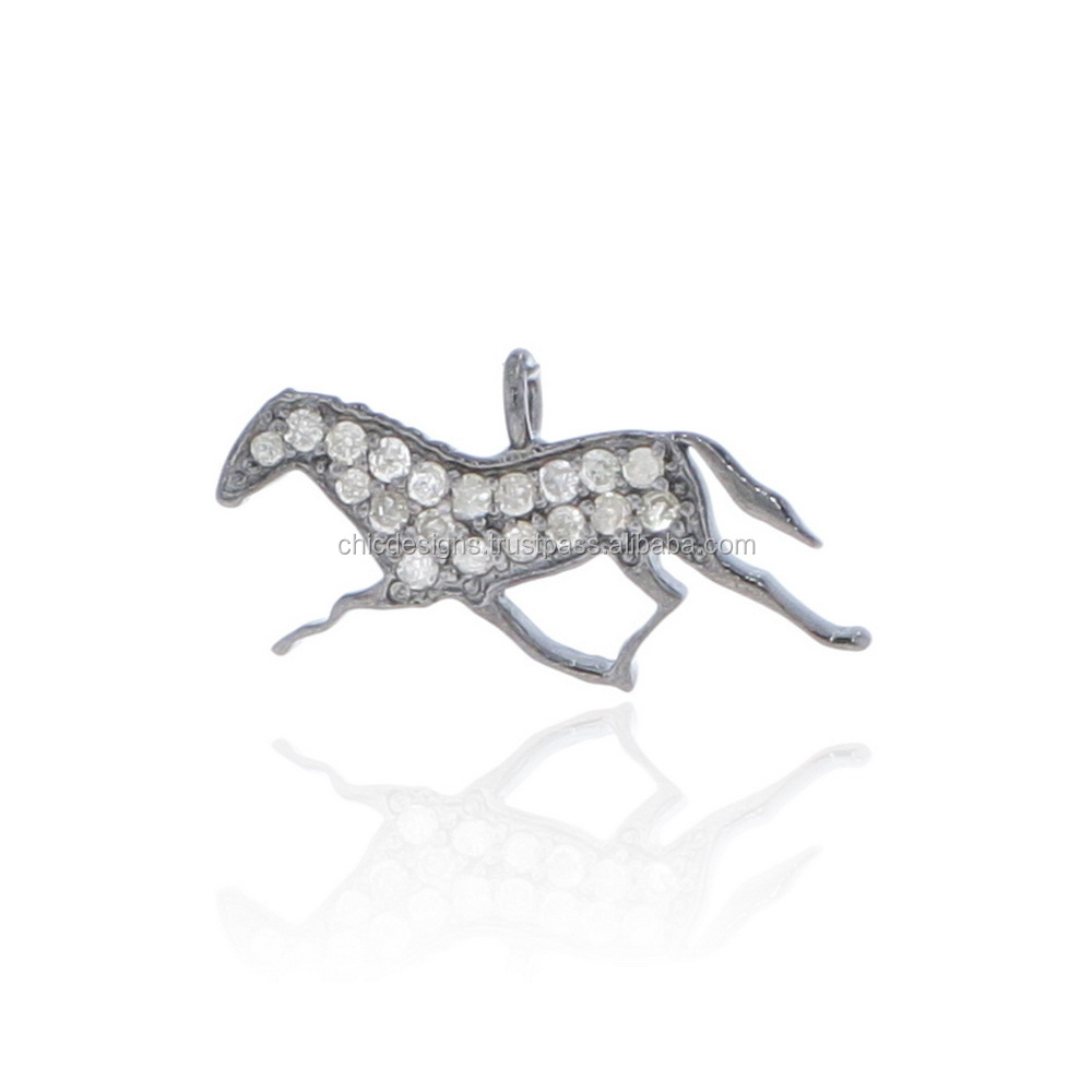 Running Horse Charm Pendant, Sterling Silver Fashion Charm, Pave Diamond Jewelry Wholesaler