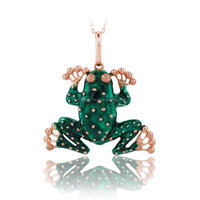 14K Solid Gold Green Frog Pendant Charm Necklace