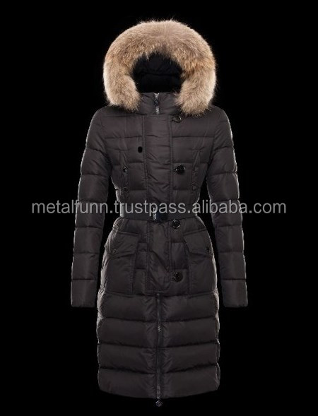 Basic Fur Hood Black Coats Nylon/Pa Womens/Fashionable Women Long Coat With Fur