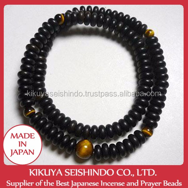 Double striped ebony bracelet with tiger eye stone 108 beads, for men, wooden item