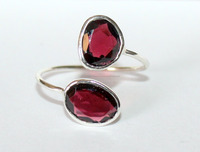 Womens Dual Red Garnet Engagement Sterling Silver Ring