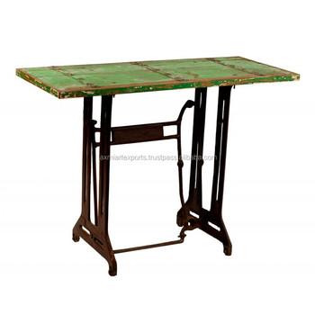 Industrial Console Table Made Of Sewing Machine Legs With