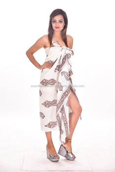 6bdd51d3257e7 Indian Cotton Block Printed Sarong Women Sexy Pareo Swimsuit Bikini Cover up