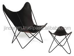 leather butterfly chair with modern stool