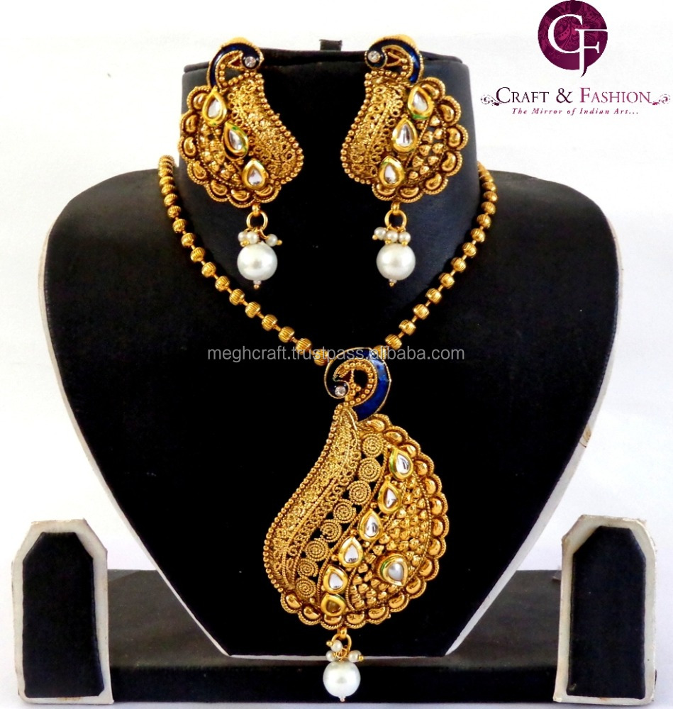 Pea Kundan Meena Pendant Set Whole Antique Gold Plated Oversize Designer Exclusive Indian Costume Jewelry Ethnic