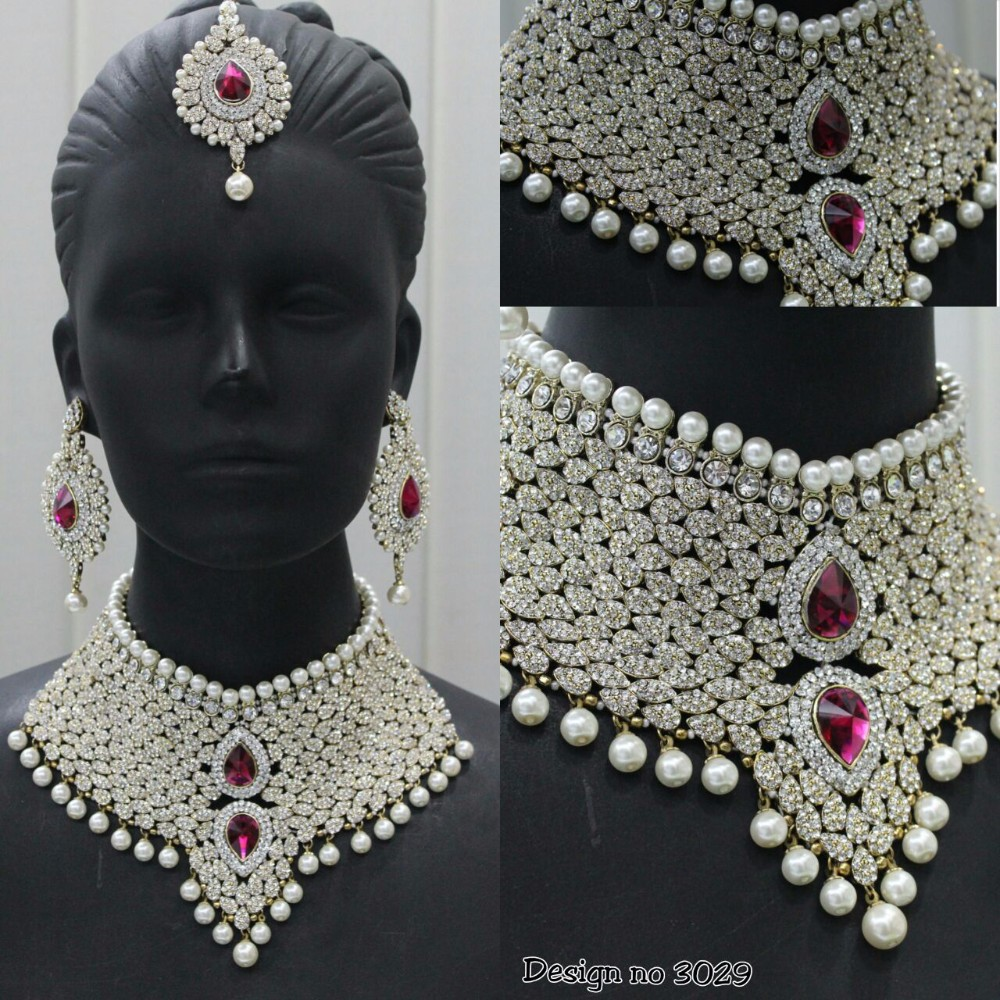 jewellery cubic type necklaces studded bridal sat of demo zirconia nithyakalyani necklace