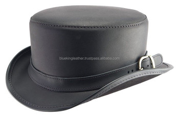 NWT Black GENUINE LEATHER Bromley TOPPER  quot Steampunk quot  Western Top  Hat ... 4f6b3beed877