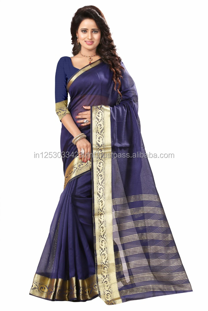 Shree Sanskruti Women's Embellished Woven Art Silk Blue Designer Sari for Women, Suit in Every Occasion