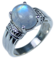 925 Sterling Silver 9*11 oval Rainbow Moonstone ring