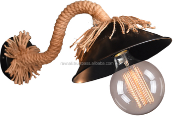 Industriale lampada da parete applique da parete depoca corda di
