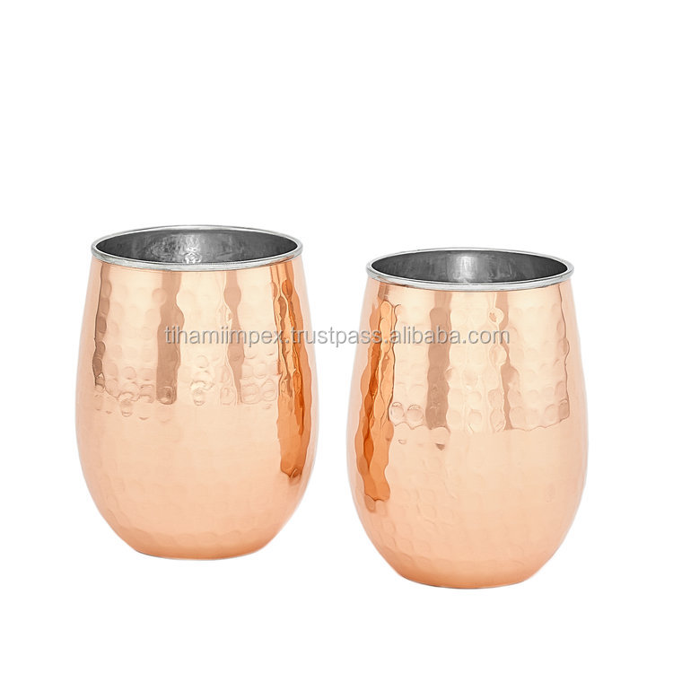 Set of 2 Double Ply Copper and Stainless steel Whisky and Wine Glass
