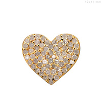 Pave Diamond Heart Design Charm Jewelry 14k Gold Findings Wholesale