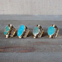 Large Rough Gemstone Raw Ring Blue Green Turquoise Adjustable Gold Plated