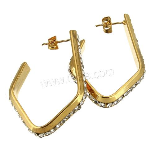 1109570 Stainless Steel Rhinestone Stud Earring gold color plated plating with rhinestone new model earing studs
