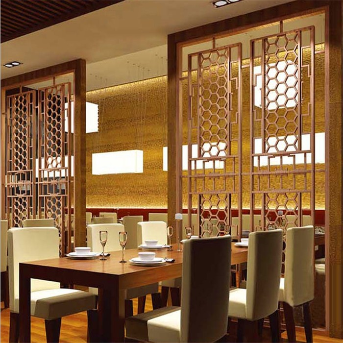 bronze color metal room divider screen partition for hotel room