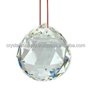 Feng Shui Hanging Crystal Clear Quartz Diamond Cutting Ball : Wholesale Gemstone Ball
